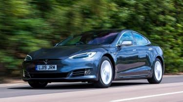 Tesla Model S saloon front 3/4 driving