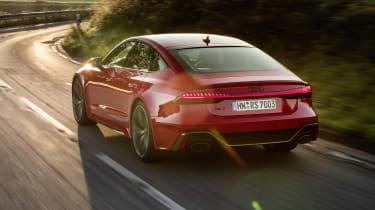 Audi RS7 driving towards corner