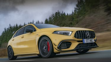Mercedes-AMG A 45 S hatchback - front 3/4 dynamic close view