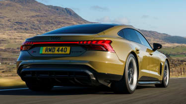 Audi RS e-tron GT saloon rear 3/4 tracking