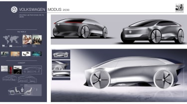 Manesh Nagarkar – Manesh created a fully autonomous vehicle aimed at Generation Z and Alpha with a flexible cabin space and design cues taken from Volkswagen's XL1.