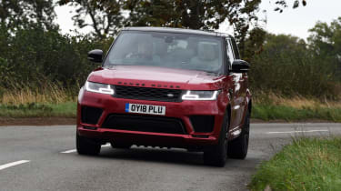 Range Rover Sport SUV driving - front view