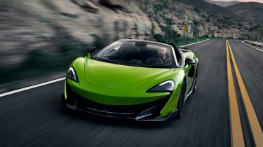 McLaren 600LT Spider convertible front action