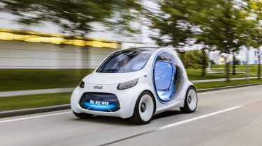 The Smart Vision EQ ForTwo is an electric concept car that showcases the brand's autonomous future