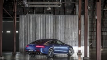 Mercedes-AMG GT 63 right hand rear static shot – lights on