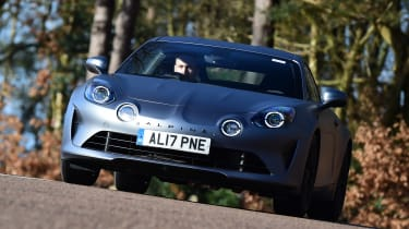 Alpine A110S cornering - front view