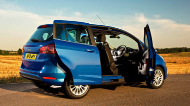 The Ford's party trick is its unrestricted access, with no middle door pillar and a convenient sliding rear door