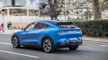 Ford Mustang Mach-E SUV rear 3/4 tracking