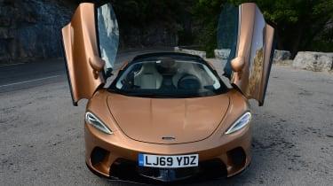 McLaren GT front view with doors up