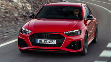 Audi RS4 Avant driving - front view