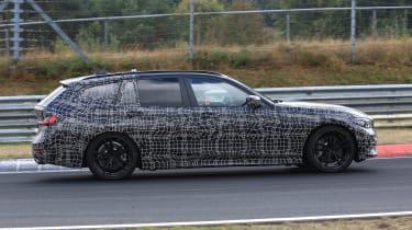 BMW 3 Series Touring tracking side profile spy shot