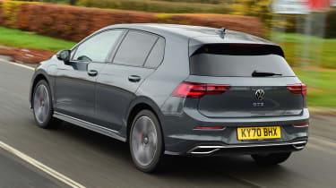 Volkswagen Golf GTE hatchback rear 3/4 tracking